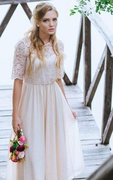 Half Sleeve Lace and Chiffon A-Line Dress With Jewel Neckline