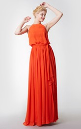 Sleeveless Pleated High Neck Chiffon Dress With Sash