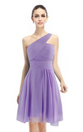 Knee-length One-shoulder Ruched A-line Dress With Band