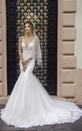 Plunging Mermaid Sleeveless Elegant Sexy Lace Wedding Dress With Cathedral Train