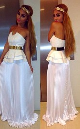 Sexy White Sleeveless A-line Prom Dress Open Back Belt