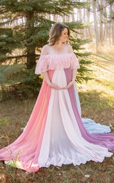 A-line Bat Long Sleeve Empire Maternity Dress