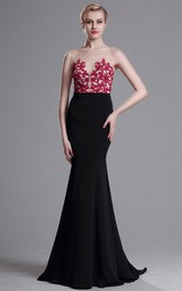 Sheath Sweep Bateau Sleeveless Jersey Appliques Illusion Dress