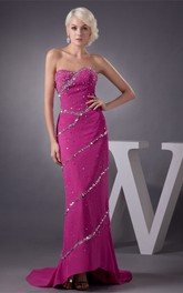 Sweetheart High-Low Chiffon Sweep Train and Dress With Beading