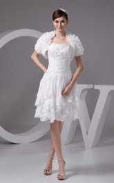 Strapless Midi Chiffon Cascading Ruffles and Dress With Lace