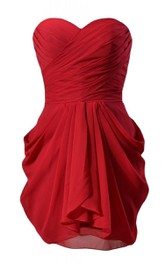 Strapless Ruching Layered Dress With Draping