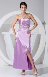 Sweetheart Ankle-Length Ruched Keyhole and Dress With Beading