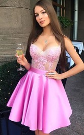 A-line Ball Gown Sleeveless Satin Lace Straps Short Mini Homecoming Dress