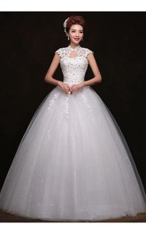 Gorgeous High Neck Cap Sleeve 2018 Wedding Dresses Ball Gown With Lace Appliques
