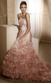 A-Line Strapless Long Ruffled Sleeveless Satin Wedding Dress With Flower And Ruching