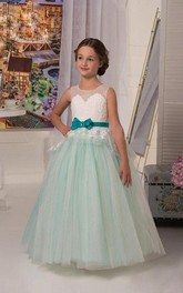 Flower Girl Illusion Neckline Tulle Ball Gown With Appliqued Top