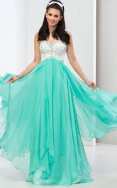 A-Line Sweetheart Sequins Long Prom Dress