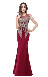 Mermaid Sleeveless Satin Long Lace Appliques Dress
