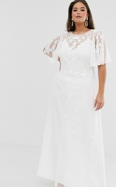 Ethereal Chiffon and Tulle Sheath Bridal Gown with Appliques
