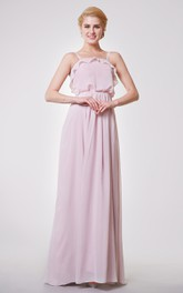 Classic Spaghetti Straps A-line Pleated Chiffon Long Dress