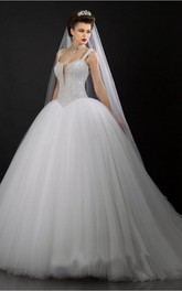 Modern V-neck Tulle Ball Gown Wedding Dress Sequins Beadings