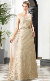 A-Line Floor-Length V-Neck Sleeveless Lace Waist Jewellery Detachable Train Low-V Back Dress
