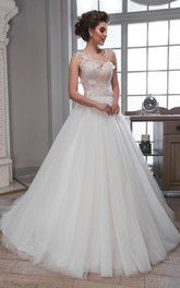 Ball Gown Floor-Length Scoop Sleeveless Illusion Tulle Dress With Appliques And Flower