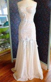 Sweetheart Sleeveless Trumpet Tulle Dress With Beading Appliques