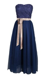 Strapless Long Dress With Lace Trim and Satin Sash