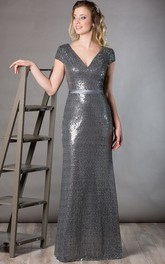 V Neck Short Sleeve Sheath Sequin Long Mother Of The Bride Dress With Satin Sash