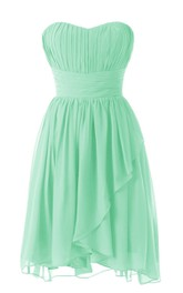 Strapless Sweetheart Pleated Short Dress With Ruched Band