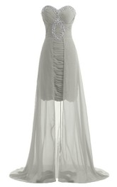 Sweetheart Long Chiffon Dress With Ruching and Sequins