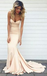 Mermaid Trumpet Satin Sweetheart Sleeveless Zipper Low-V Back Dress