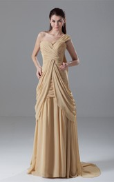 One-Shoulder Floor-Length Criss-Cross Gown With Draping