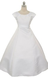 Cap-sleeved A-line Taffeta Dress With Flower and Bow