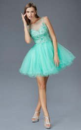 A-Line Short Scoop-Neck Sleeveless Tulle Illusion Dress With Appliques And Ruffles