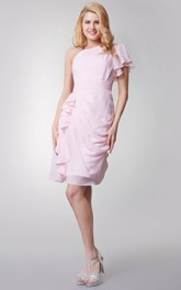 One Sleeve Draped Knee Length Chiffon Dress With Side Ruffles