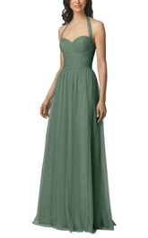 Halter Tulle Long Bridesmaid Dress with Ruching