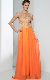 Jewel Neck Beading Sequins Prom Dress