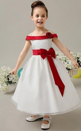 Flower Girl Straps Organza Ball Gown With Fold Over Collar
