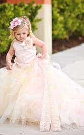 Lovely Sleeveless Tulle Flower Girl Dress With Long Train and Flowers