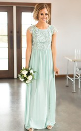 Chiffon Scoop-neck Cap-sleeve Long Bridesmaid Dress with Applique