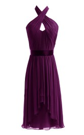 Sleeveless Asymmetrical Chiffon Dress With Keyhole