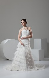 Sleeveless A-Line Ruched Tiers and Dress With Beading