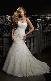 Mermaid Floor-Length Sweetheart Sleeveless Lace-Up Lace Dress With Side Draping And Beading