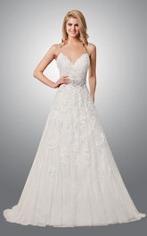 Quality Backless Lace Floor Length Wedding Dress