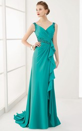 V Neck V Back Crystal Waist Long Prom Dress With Ruffles And Brush Train