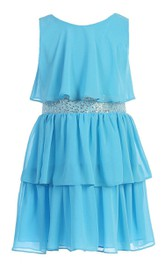 Sleeveless A-line Pleated Dress With Sequins