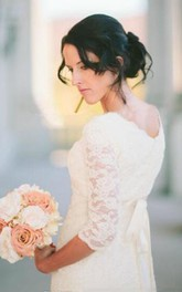 Romantic Beach 3/4 Sleeve Jewel Modest White Bohemian Lace Wedding Dress
