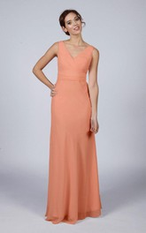 V Neck V Back A-line Chiffon Long Dress Peach