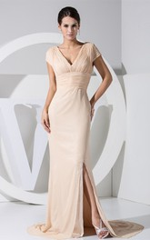 Plunged Mermaid Caped-Sleeve Ruched Waist and Dress E Front Slit