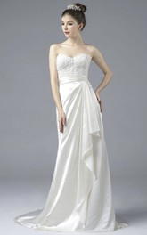 Satin Sweetheart Lace Appliqued Elegant Open Back Gown With Draping And Buttons
