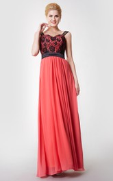 Sleeveless A-line Long Chiffon Dress With Lace Bodice