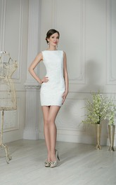 Sheath Short High-Neck Sleeveless Low-V-Back Lace Dress