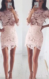 Sheath 3 4 Length Sleeve Lace High Neck Short Mini Homecoming Dress